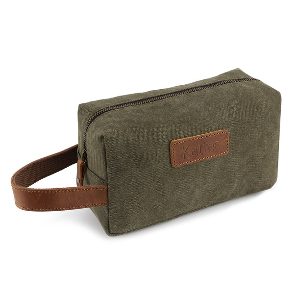 4851147be674 Kattee Canvas Toiletry Bag Travel Cosmetic Makeup Organizer with Thick  Leather Handle
