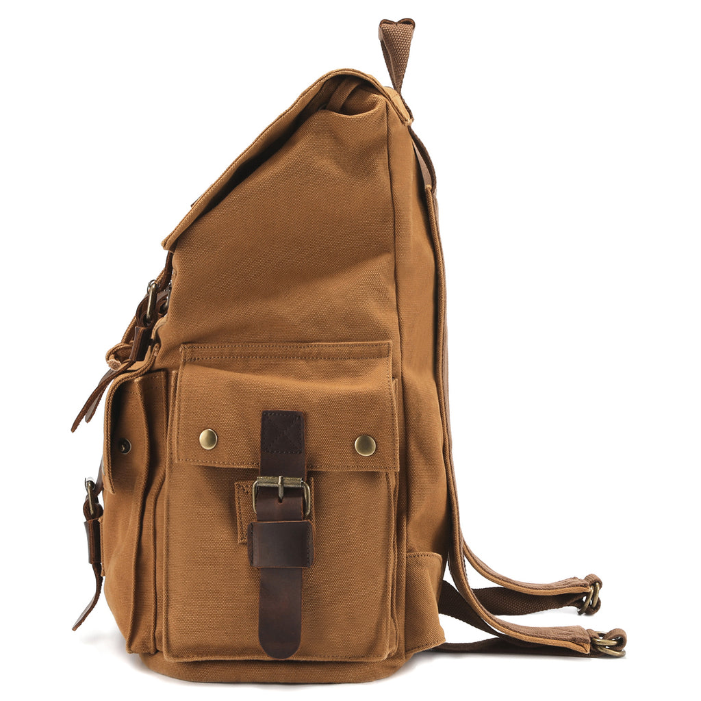 e3df6924c7 ... Kattee Men s Canvas Leather Hiking Travel Backpack Rucksack School ...
