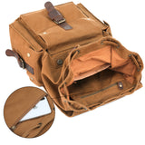 Kattee Men's Canvas Leather Hiking Travel Backpack Rucksack School Bag