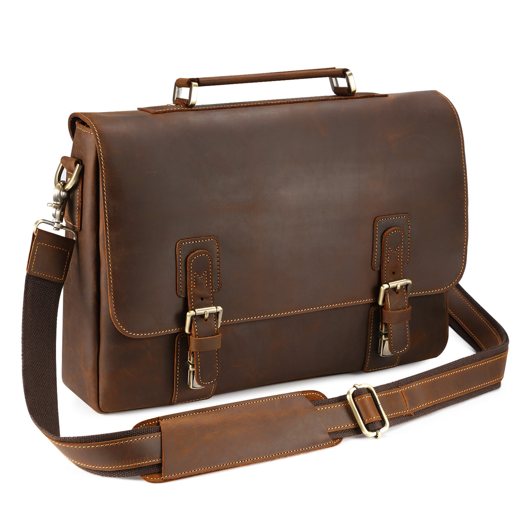 474ae3ba917c Kattee Men's Leather Satchel Briefcase , Laptop Messenger Shoulder ...