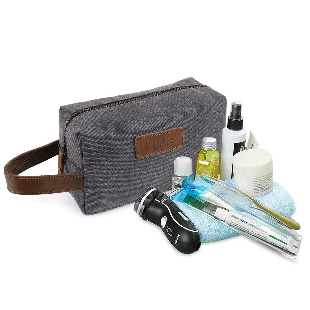 036075662481 Kattee Canvas Toiletry Bag Travel Cosmetic Makeup Organizer with ...