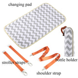 Kattee Chevron Diaper Bag Baby Nappy Tote Bag with Changing Pad & Bottle Holder White & Gray