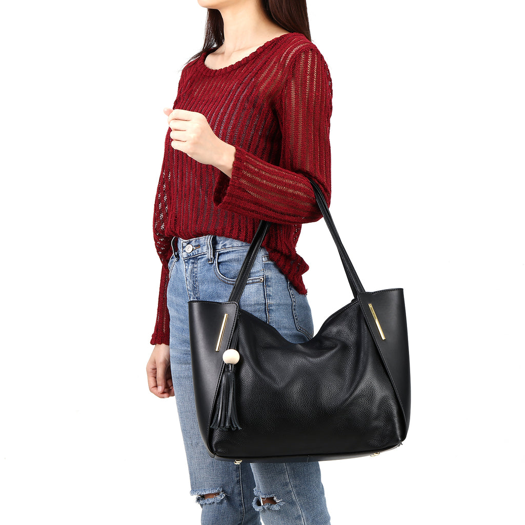 ... Kattee Leather Tote Bag Top Handle Shoulder Bag with Tassel Decoration  ... ae677b6b9357f