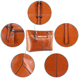 Kattee Vintage Genuine Leather Tote Shoulder Bag With Adjustable Handles