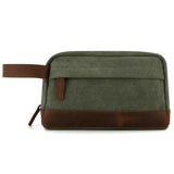 Plambag Canvas Leather Toiletry Bag Travel Cosmetic Makeup Organizer