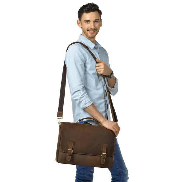 Kattee Men's Leather Satchel Briefcase , Laptop Shoulder Bag Brown