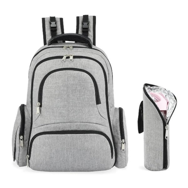 Kattee Baby Diaper Bag, Large Nappy Backpack with Changing Pad & Bottle Holder, Gray