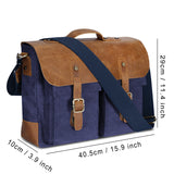 Mens Messenger Bag, Plambag Leather Canvas Briefcase Crossbody Bag