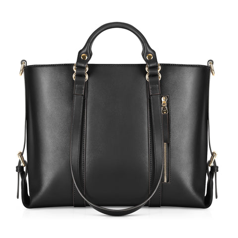 Kattee Urban Style 3-Way Women's Genuine Leather Shoulder Tote Bag Black