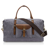 Plambag Oversized Duffel Bag, Waterproof Canvas Leather Trim Overnight Luggage Bag Dark Gray