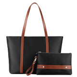 Plambag Water-repellent Nylon Basic Spacious Work Laptop Tote Shoulder Bag for Women Black