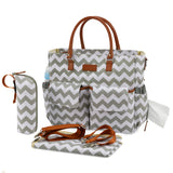 Kattee Chevron Diaper Bag Baby Nappy Tote Bag with Changing Pad & Bottle Holder