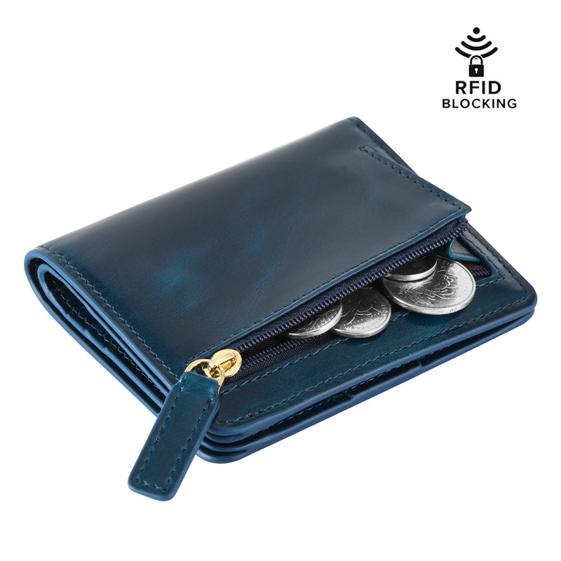 Kattee RFID Blocking Leather Bifold Small Wallet for Women Blue