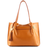 Kattee Ladies' Genuine Leather Tote Shoulder Bag Tassel Handbag