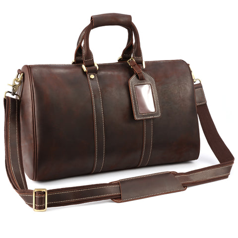 Kattee Vintage Leather Weekender Duffel Bag Travel Luggage Bag