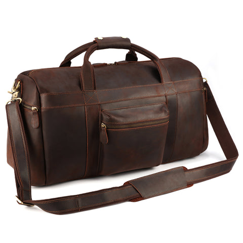 Kattee Retro Leather Duffel Bag Large Overnight Travel Bag