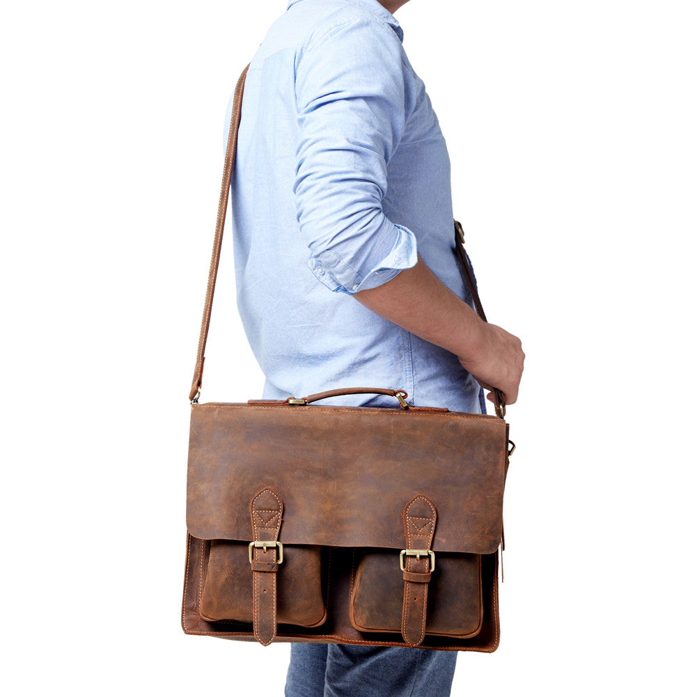 d953ace496b94 ... Kattee Handmade Genuine Leather Laptop Briefcase Messenger Bag ...