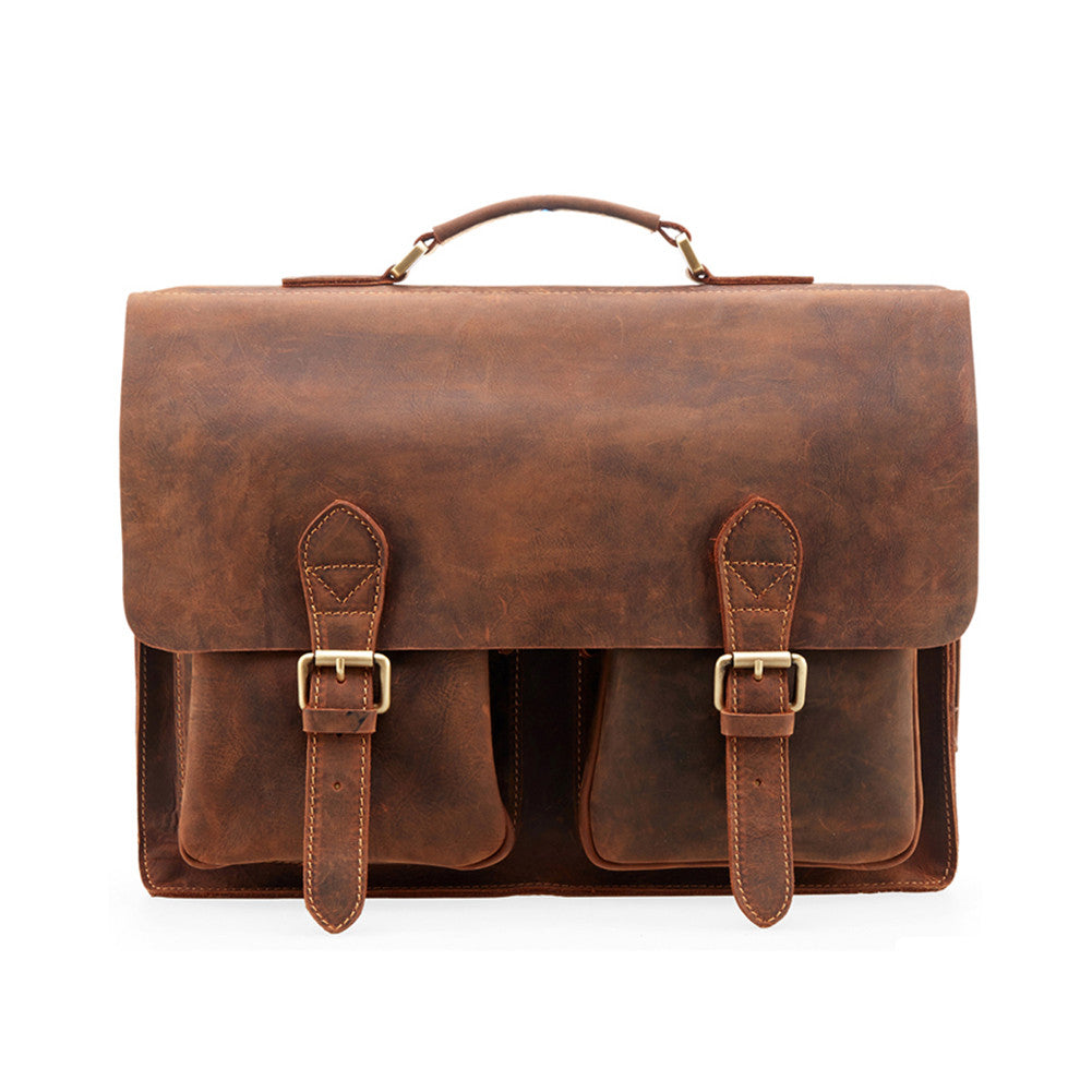a26667c74d59 Kattee Handmade Genuine Leather Laptop Briefcase Messenger Bag ...