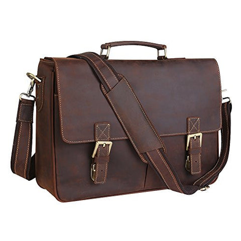 "Kattee Classic Genuine Leather Briefcase Messenger Bag Tote, Fit 14"" Laptop"