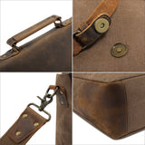 "Kattee Vintage Canvas + Real Leather Messenger Bag Tote, Fit 14"" Laptop Coffee"