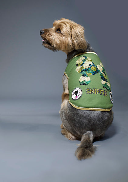 Sniffie Dog Fashion Knitted Vest with Crystals and Sequins