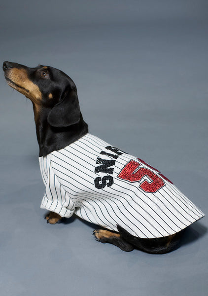 Sniffie Dog Fashion Printed Baseball Top with Crystals