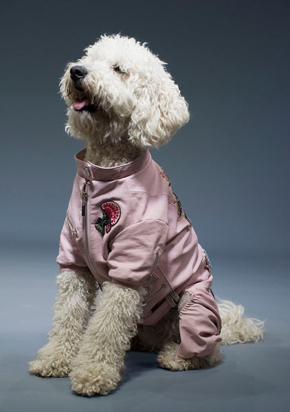 Sniffie Dog Fashion Vinyl Overcoat with Crystal Badges