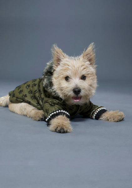 Sniffie Dog Fashion Padded Jacket with Faux Fur