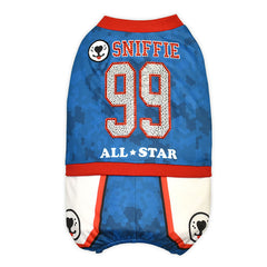 Sniffie Dog Fashion Dog Clothes Basketball Sportswear with Crystals