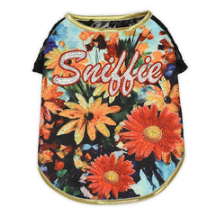 Sniffie Dog Fashion Dog Clothes Floral Print Vest with Crystals
