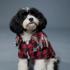 Sniffie Dog Fashion Dog Clothes Bird's Eye Jacket with Crystals Trimming Red