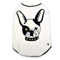Sniffie Dog Fashion Dog Clothes White Cotton Sleeveless Top
