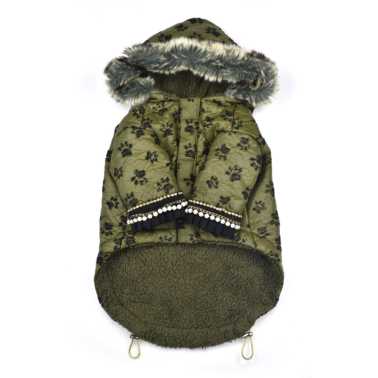 Sniffie Dog Fashion Padded Jacket with Fun Fur Green