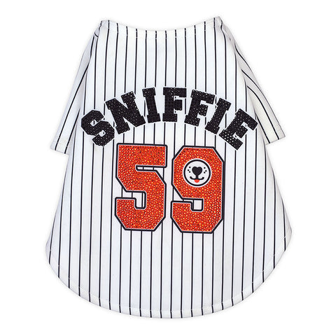 Sniffie Dog Fashion Printed Baseball Tops with Crystals
