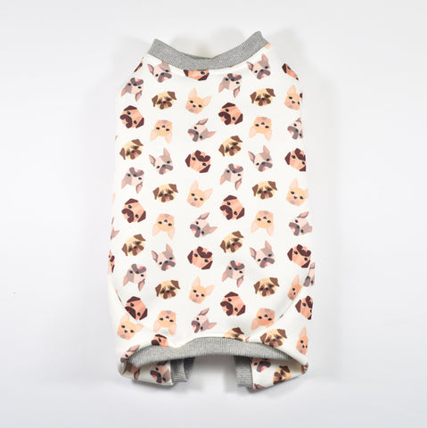 Sniffie Dog Fashion Dog Clothes Jumpsuit with Doggie Print