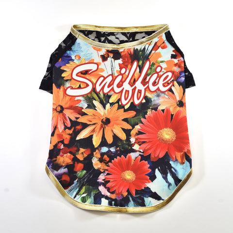 Sniffie Dog Fashion Dog Clothes Floral Print Vest