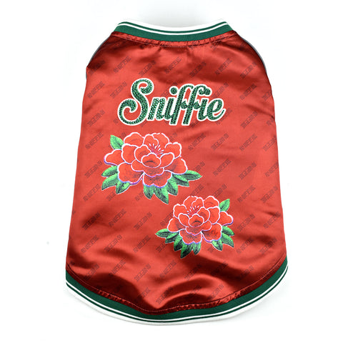 Sniffie Dog Fashion Dog Clothes Bomber Jacket with Crystals Red