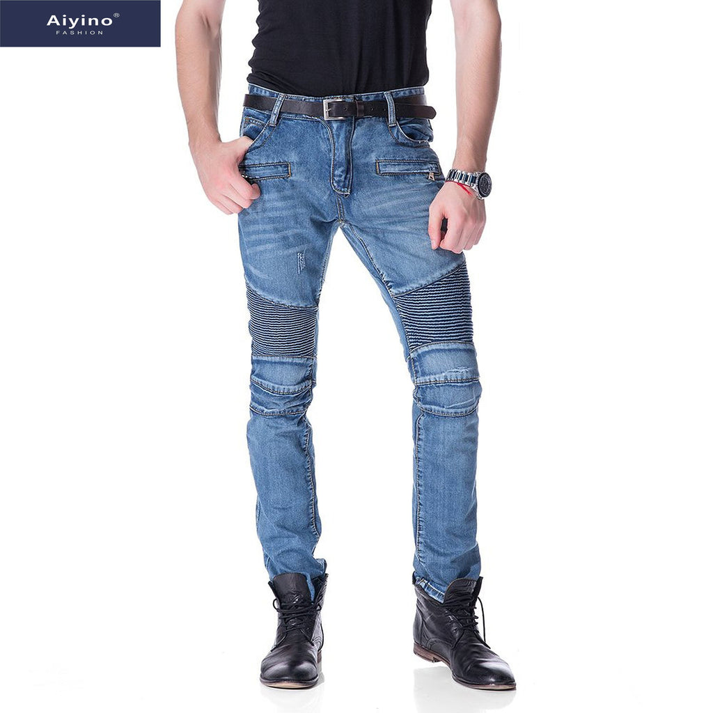 separation shoes 7edb2 c526b Aiyino Men's Slim Zipper Biker Jeans Moto Denim Pants