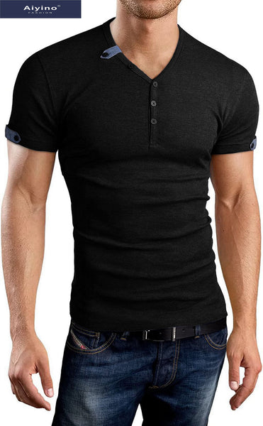 Aiyino Mens Summer Casul V-neck Button Cuffs Cardigan Short Sleeve T-Shirts