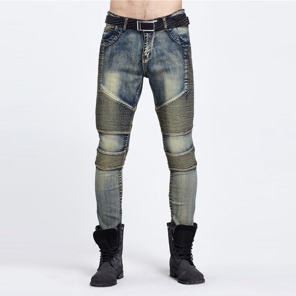 Aiyino Mens Skinny Runway Distressed Slim Denim Biker Jeans Hiphop Pants