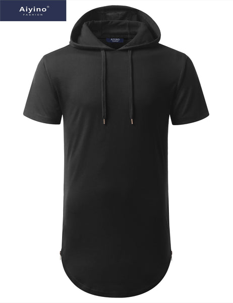 Aiyino Mens Hipster Hip Hop Longline Pullover Short Sleeve Hoodie Shirt