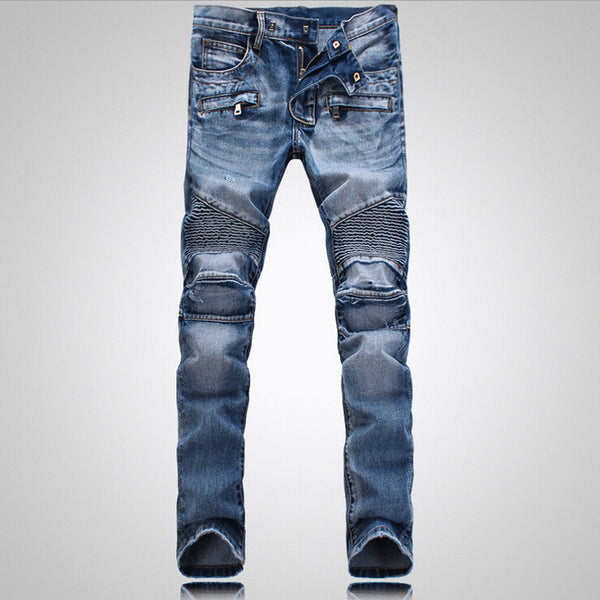 Aiyino Men's Slim Zipper Biker Jeans Moto Denim Pants