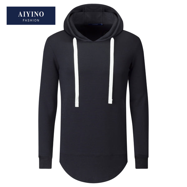 Aiyino Mens Hipster Hip Hop Classic Pullover Long Hoodie Sweatshirts Jacket