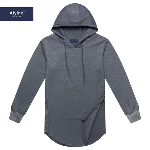 Aiyino Mens Hipster Hip Hop Classic Pullover Long Hoodie Side Zipper Long Sleeve T Shirt
