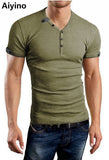 Aiyino Men's Casual V-Neck Button Cuffs Cardigan Short Sleeve T-Shirts