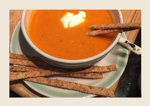 Carrot Ginger Soup and Sesame Seed Sticks with Pale Ale Grains