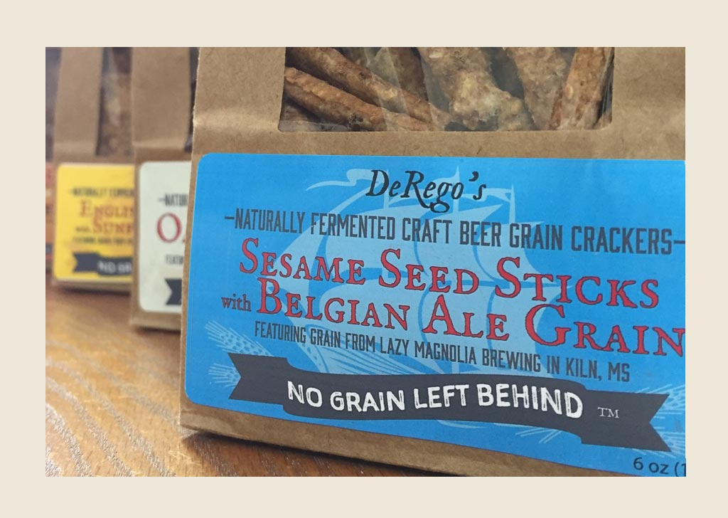 Why is there a ship on the label of DeRego's Crackers?