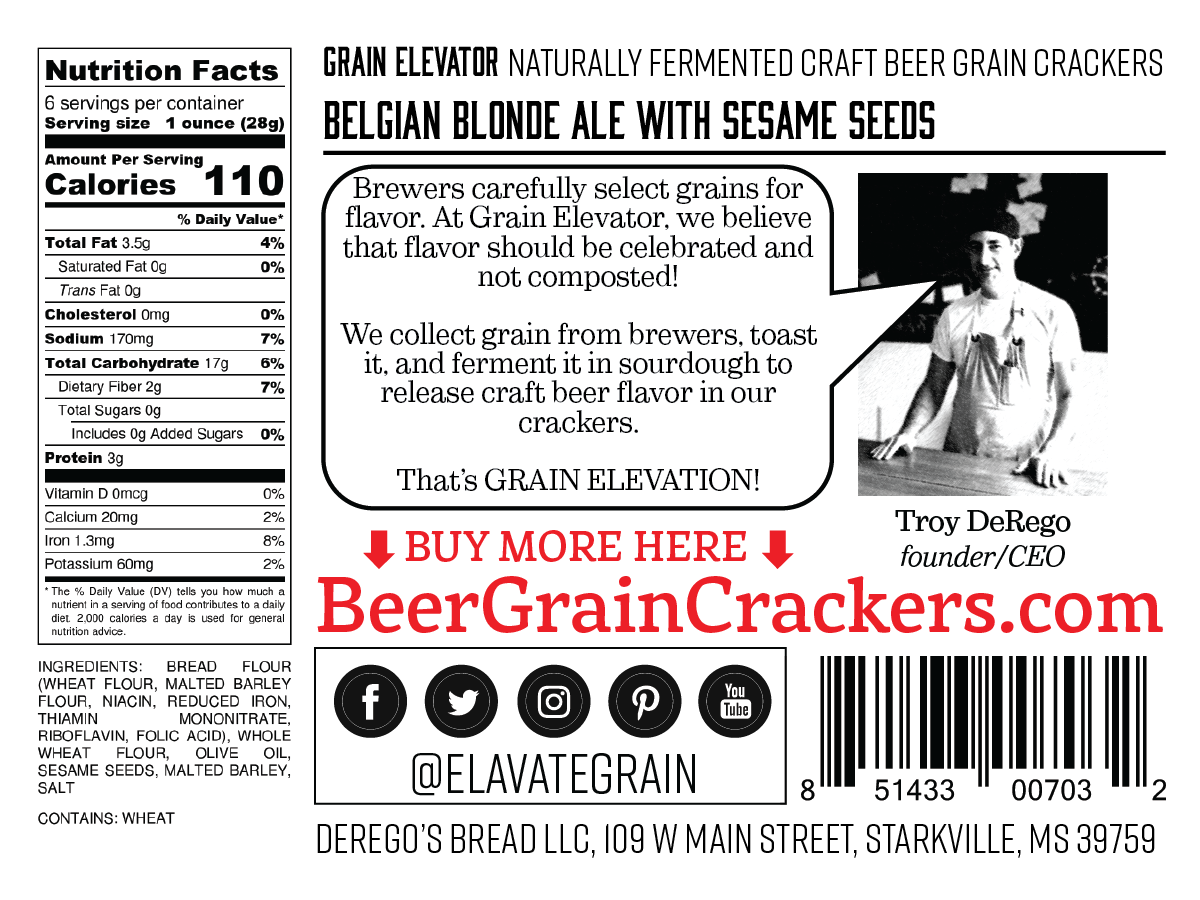 Belgian Blonde Ale with Sesame Seeds - naturally fermented beer grain crackers back label