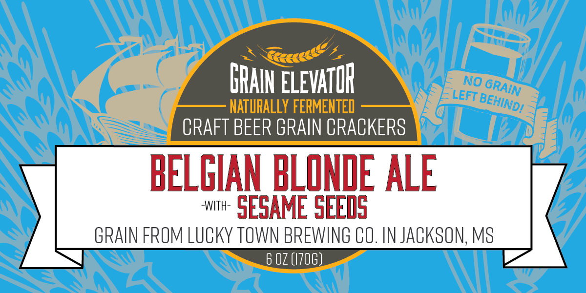 Belgian Blonde Ale with Sesame Seeds - naturally fermented beer grain crackers front label