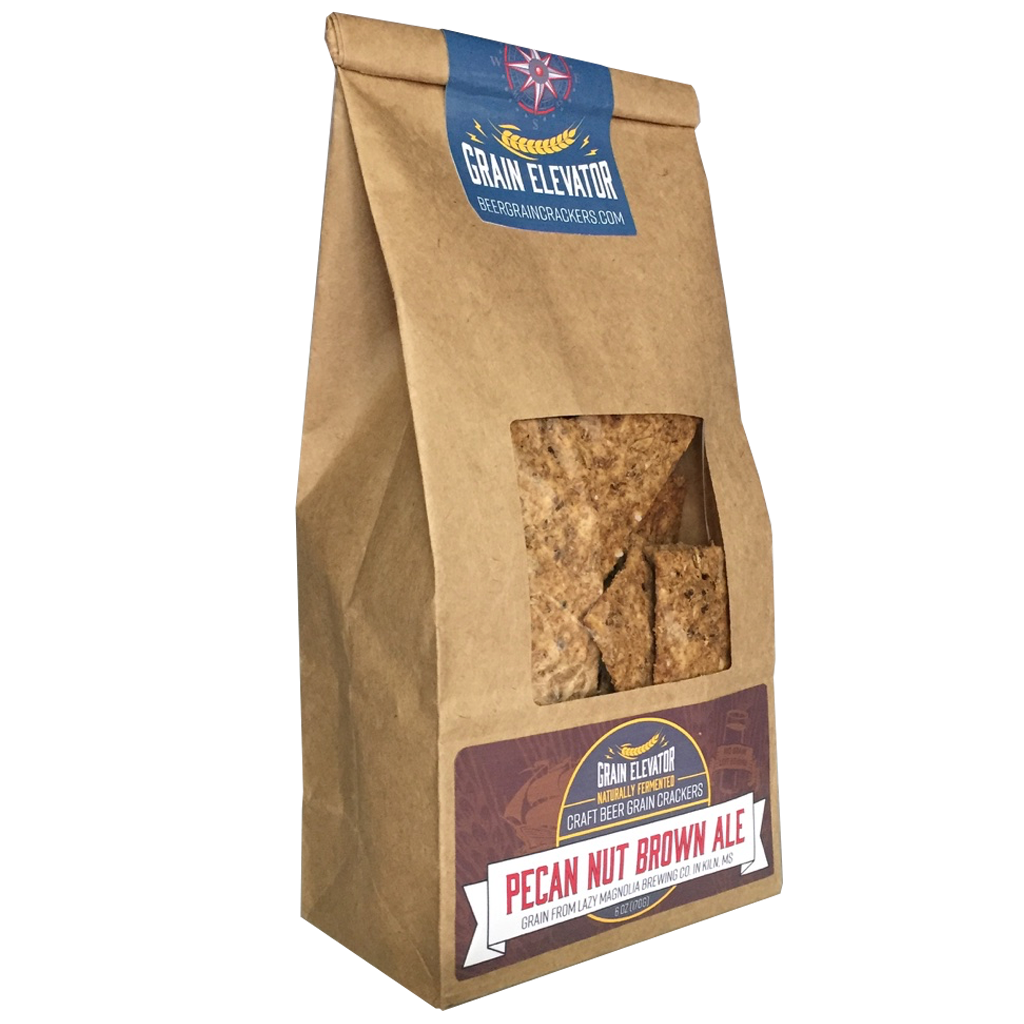 Pecan Nut Brown Ale - naturally fermented beer grain crackers